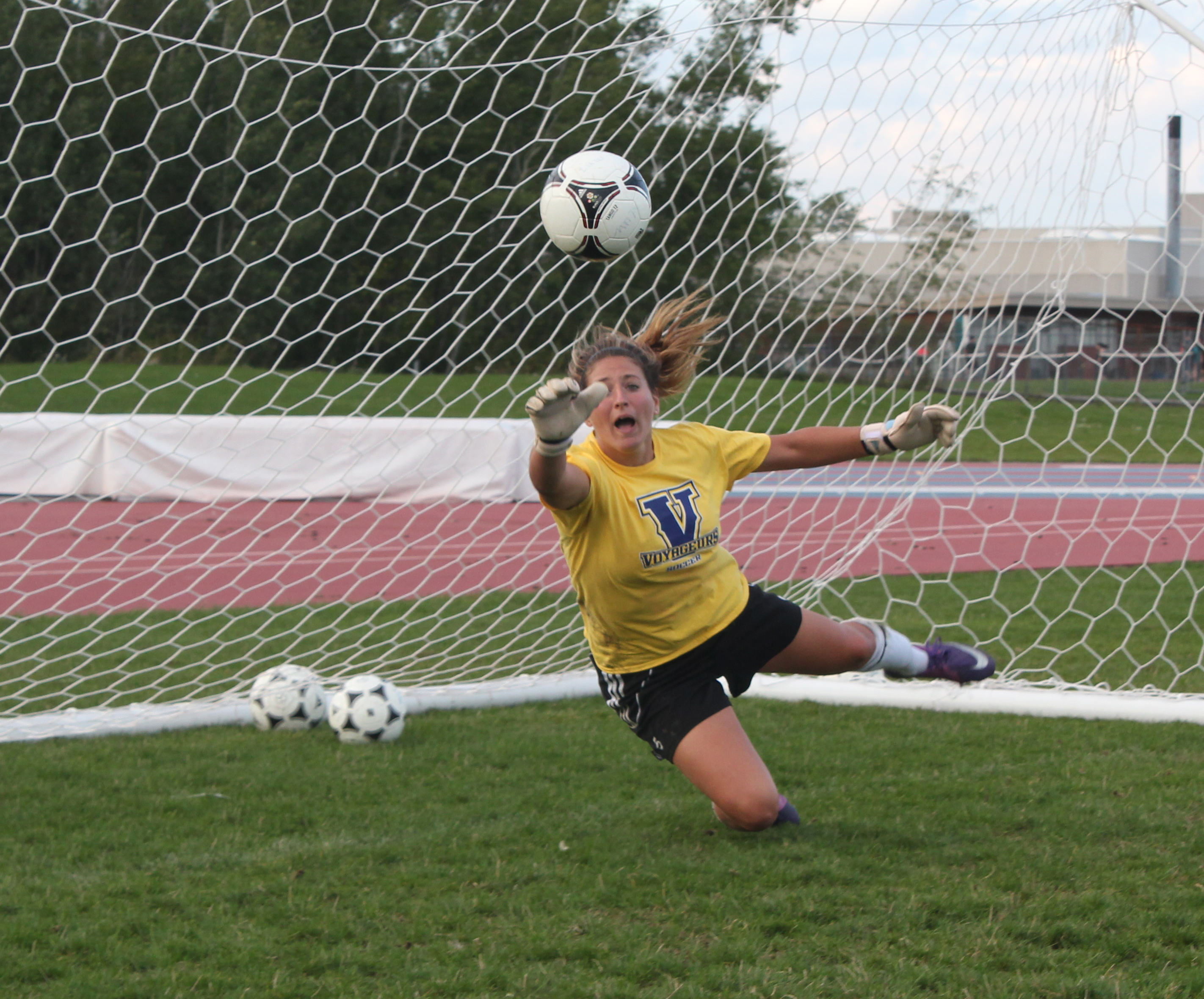 Dina Mandolesi, goalkeeper for Laurentian and fourth-year student, making a save at practice on Sept. 9. Mandolesi helped the Voyageurs secure a 1-0 win versus RMC on Sept. 7 moving Laurentian's record to 2-1-1 on the season.