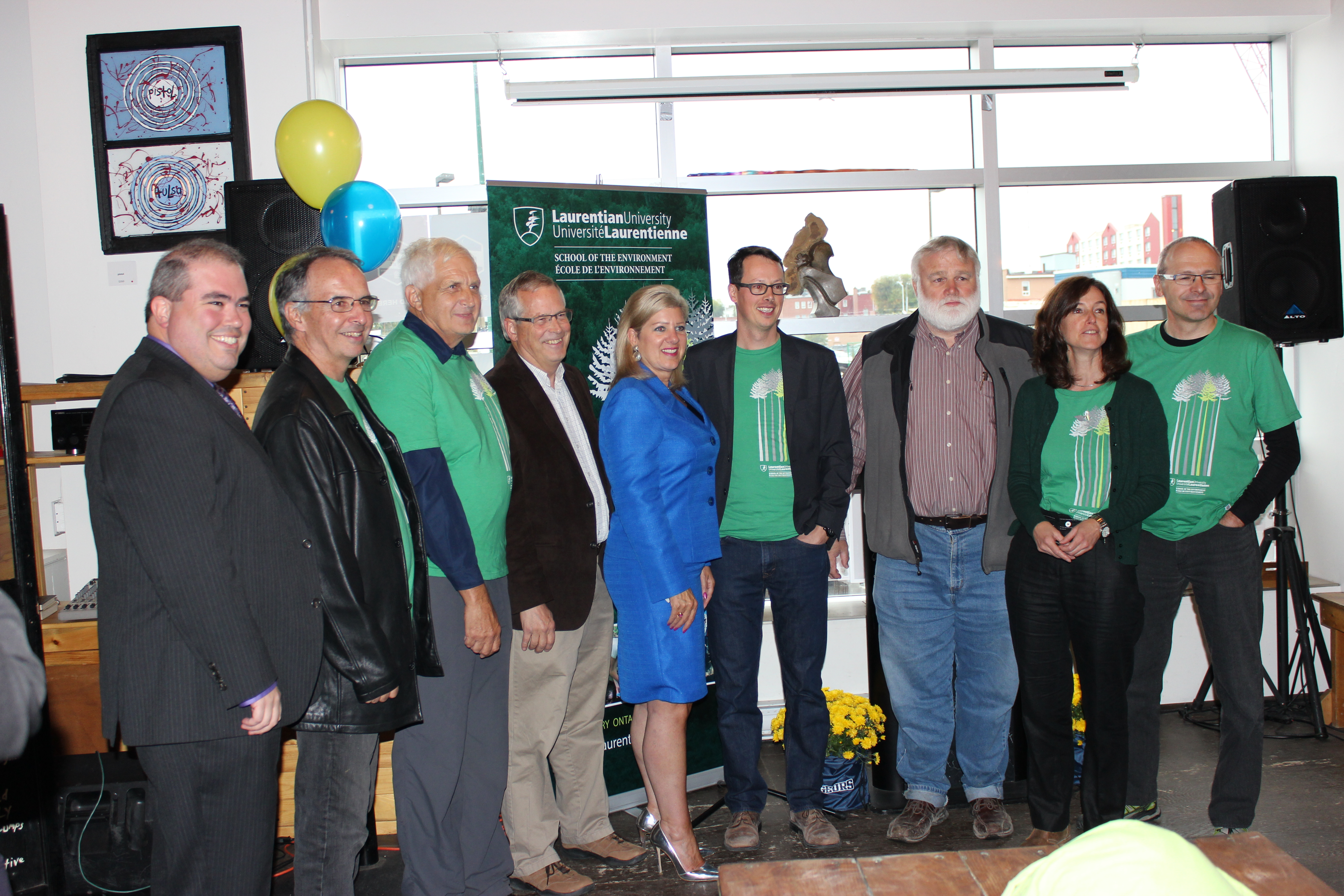 Above (from the left): Dominic Girouz, Dr. John Gunn, Dr. Peter Beckett, Bill Lautenbach, Mayor Marianne Matichuk, Dr. Brett Buchanan, Dr. Grame Spiers, Dr. Anne Watelet, Dr. Francois Caron. Photo by Anthony Crozzoli.