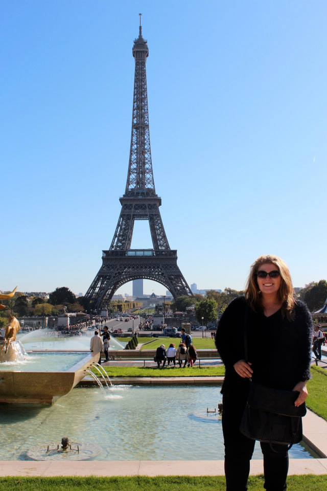 Taylor in front of the Eiffel tower. Photo supplied