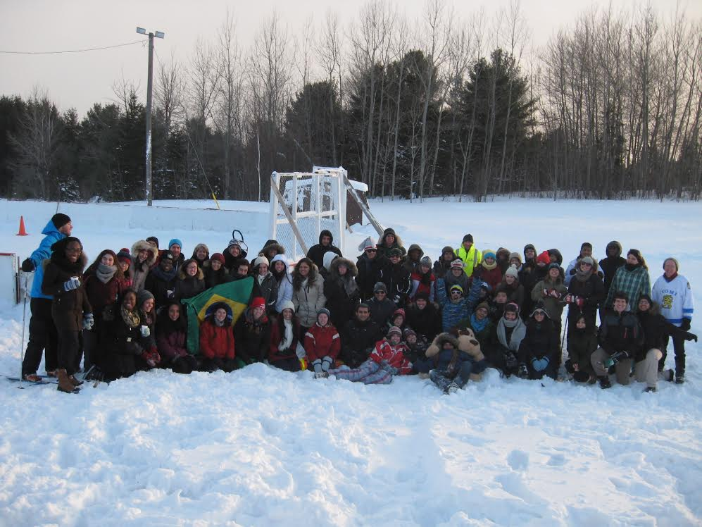 International students and volunteers enjoy a frosty Winter Fun Day last year at the Den-Lou Playground. Photo supplied.