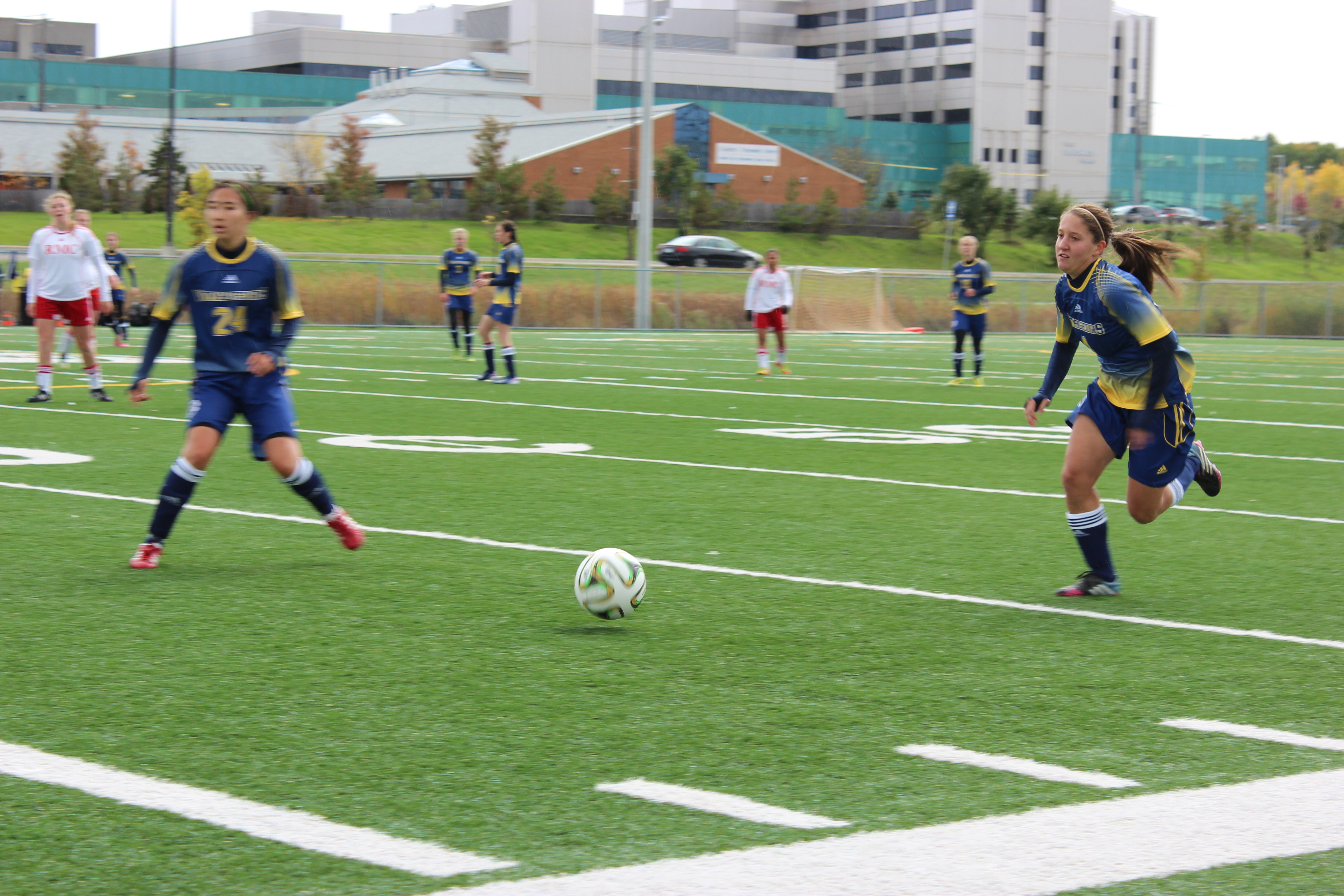 The women's soccer team playing at the turf this weekend. Photo by Anthony Crozzoli.