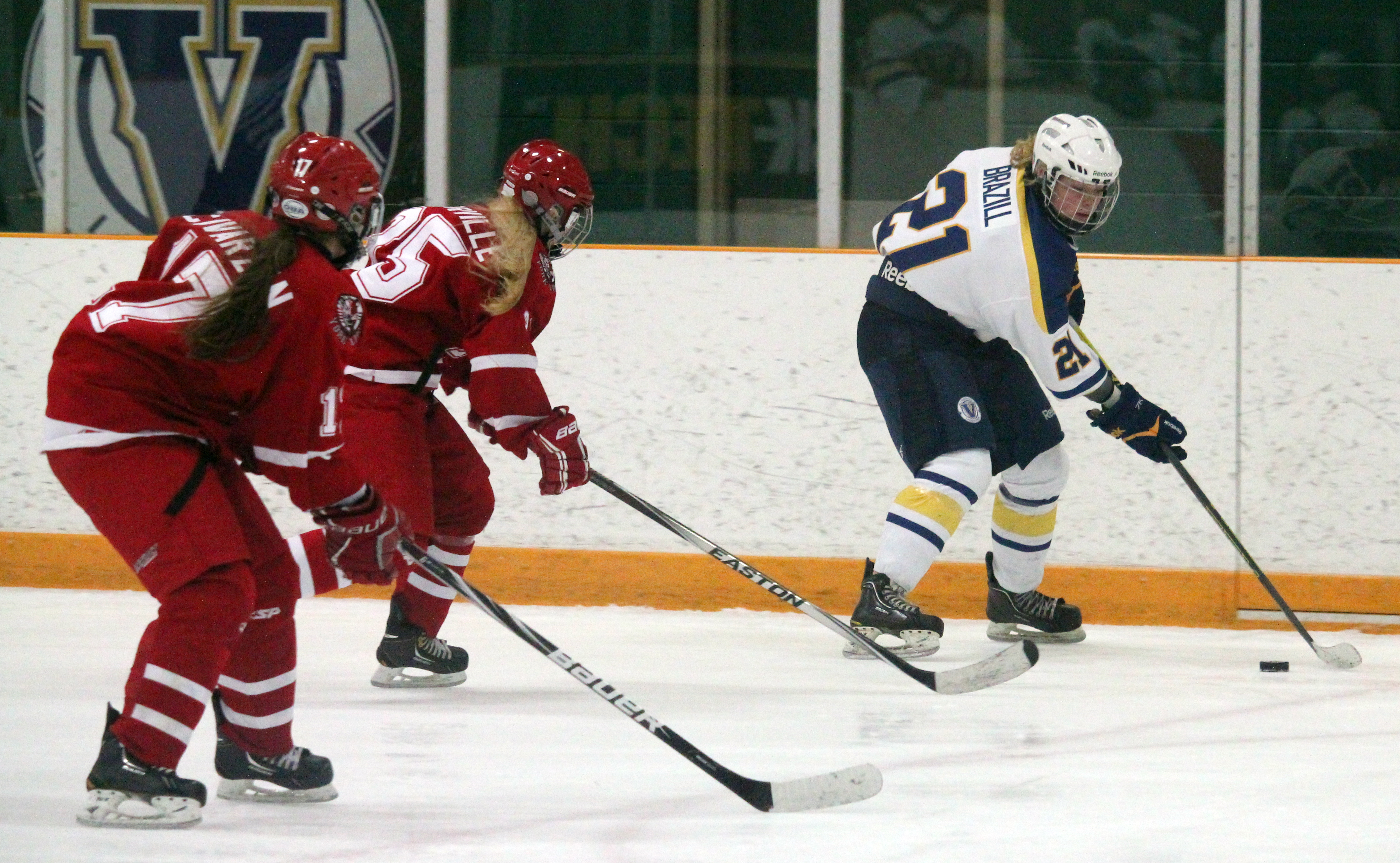 The Laurentian women's hockey team facing the York Lions on Nov. 16. Photo by Gabriel Rodrigues.