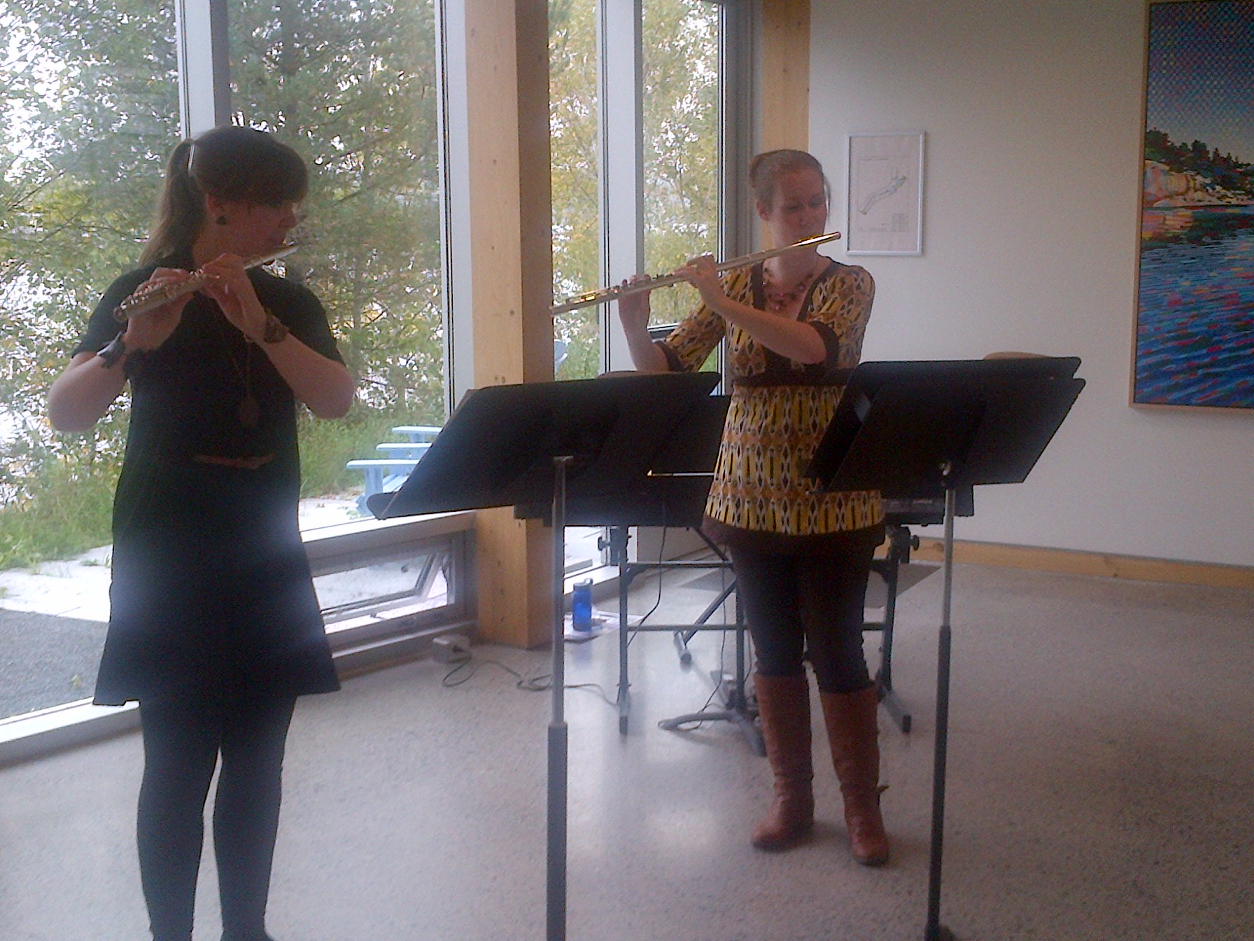 Flautists Shannon Lewis and Rachel Gibson perform alongside David Buley and Ian Gibson. Photo by Oliver Wilmot.