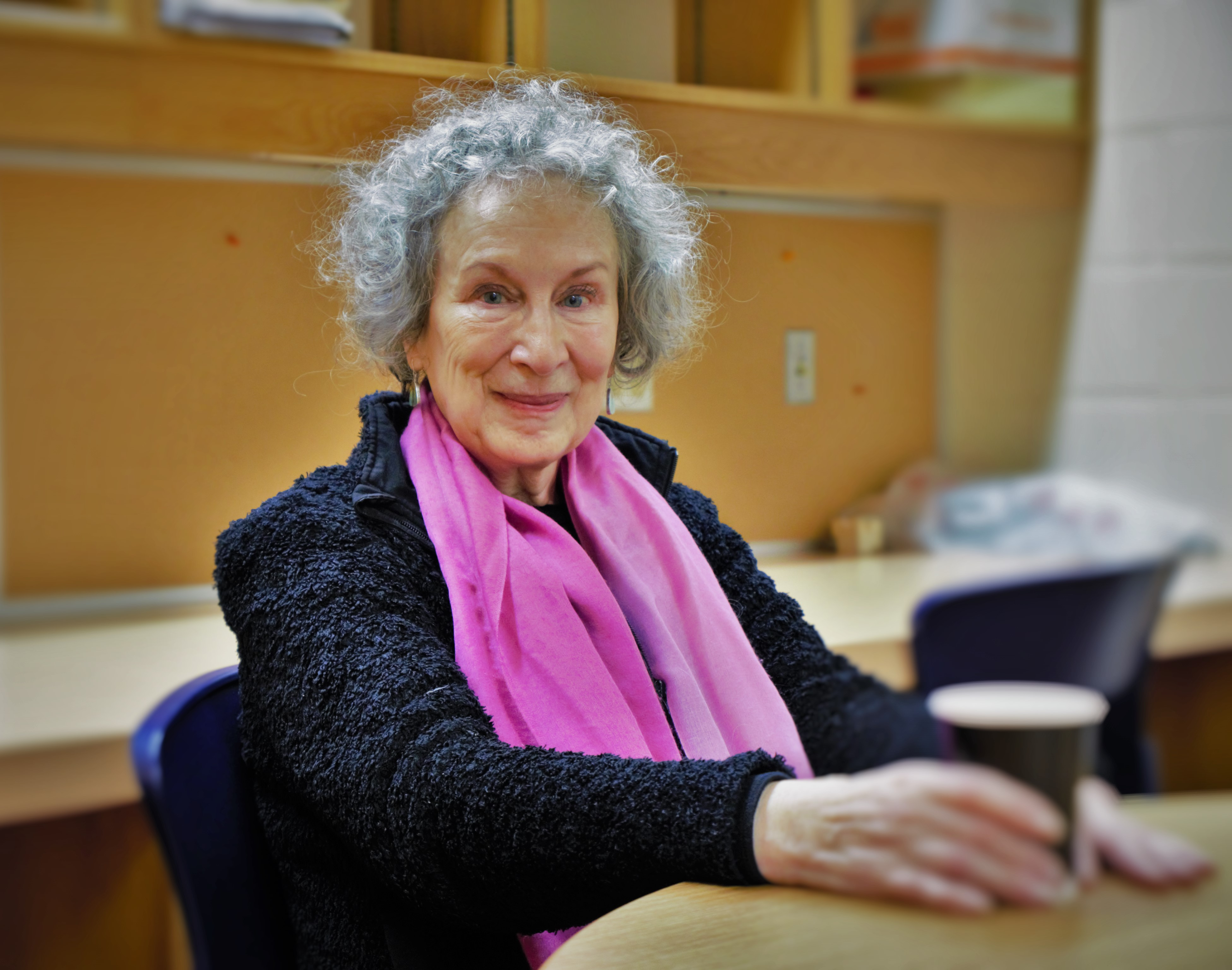 Margaret Atwood poses for a photo in the Laurentian University JN Desmarais library. Photo by Zara Golafshani