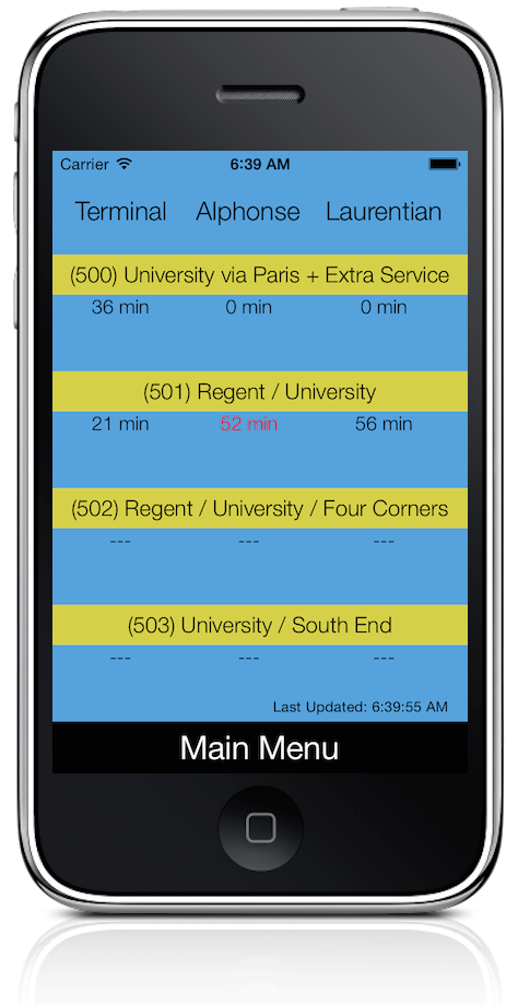 A screenshot of the Laurentian Bus app. Photo supplied.