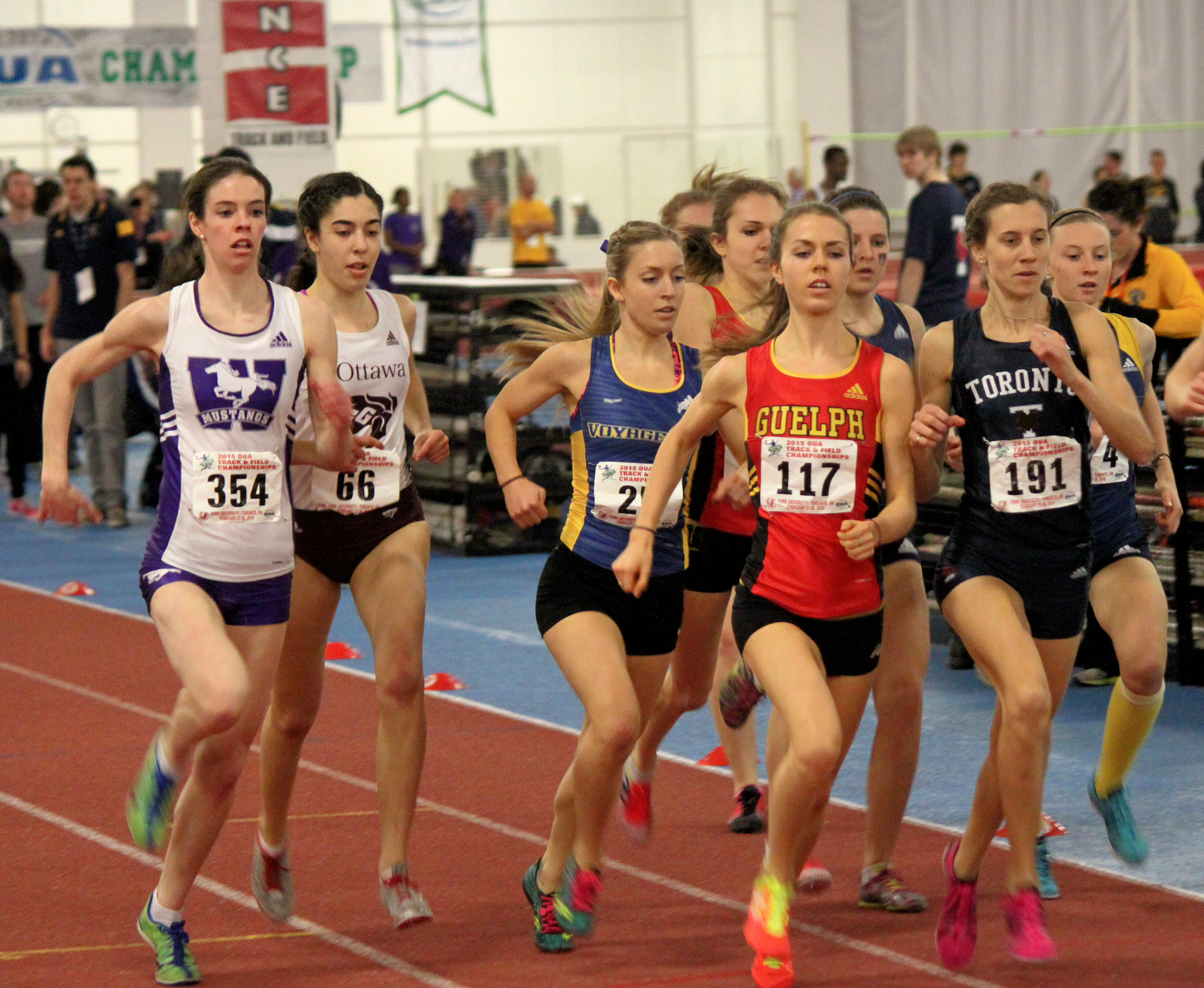 Katie Wismer competes at the indoor track OUA Championship in February. Photo provided
