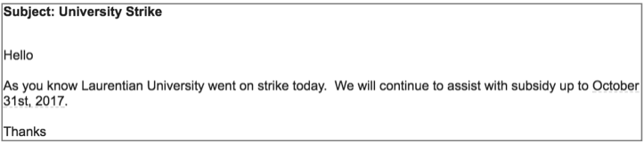 Email about Laurentian strike affecting childcare subsidy from city